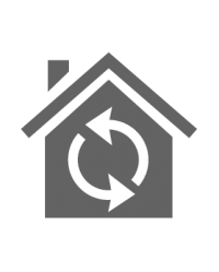 Icon of your home with arrows in a circle
